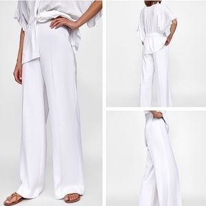 Zara Flowy White Pants
